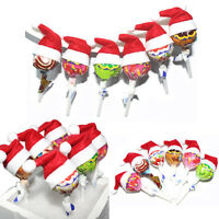30PCS Mini Lollipop Lollypop Santa Claus Hats Cap Wrap Christmas  Party Decor