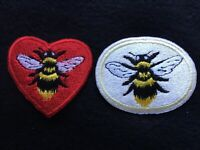 Choose Bee Heart Or Bee Oval  Iron or Sew on Patch Badge