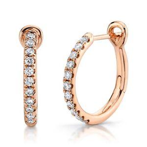 """14K Rose Gold Round Diamond Hoop Earrings 0.60"""" Diameter 0.26 TCW Natural"""