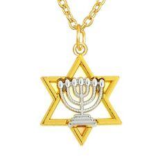 Anhänger Davidstern - Gold, Menorah - Silber. Halskette mit Magen David Kette