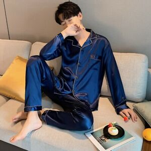 Mens Silk Satin Pyjamas Set Nightwear Pyjama Top & Bottoms Loungewear Sleepwear