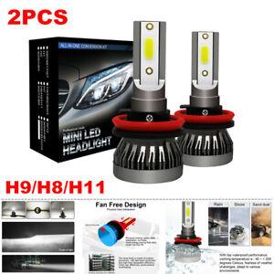 2PCS H9/H8/H11 LED Headlight Kit 255000LM Beam Bulb 6000K HID Car Fog Light Lamp