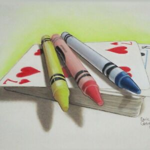 Still Life Artwork #312 Pastel Painting Crayons Deck of Playing Cards