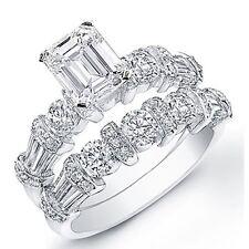 Engagement Bridal Set Egl 3.50 Ct. Emerald Cut Diamond