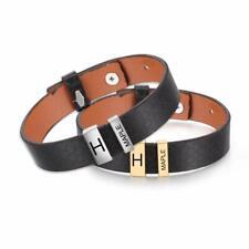 Personalized Mens Leather Bracelet Engrave 2-5 Beads Charm Wristband Punk Bangle