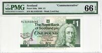 Scotland 1994 1 Pound PMG Certified Banknote UNC 66 EPQ Gem 358a Commemorative