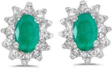 10 Quilates Oro Blanco Ovalado Esmeralda & Diamante Pendientes e6410w-05