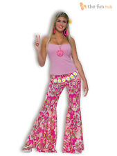 Ladies Hippy Bell Bottom Flares Flared Trousers 1960s 70s Hippie Fancy Dress