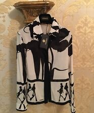 Versace Women Silk Shirt RRP £1100 (93% Silk 7%spandex) Monochrome, AUTHENTIC