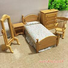 5Pcs Set Dollhouse Miniature Burlywood Bedroom Furniture 1:12 Scale Model