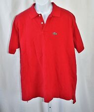 "Lacoste Mens XL 48"" Red Grand Patron Polo Shirt Regular Fit Green Crocodile Logo"