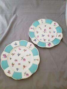 Grace's Teaware Spring Floral Scalloped Gold Rim Salad Dessert Plates Set 2