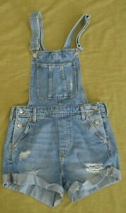 Destroyed DISTRESSED OVERALL JEAN SHORTS DIVIDED H&M Size 2 CUFFED