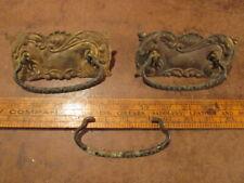 2 Vintage Door pulls Knob brass ornate dresser drawer