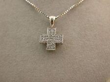 tolles Collier Brillant Kreuz  Weißgold 750