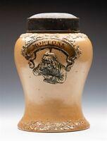 ANTIQUE SALT GLAZED MORTONS TOBACCO/SNUFF JAR 19TH C.