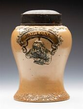 ANTIQUE SALT GLAZED MORTONS TOBACCO/SNUFF JAR 19TH C.