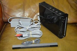 Nintendo Wii Black Console With All Cables No Controllers GameCube Compatible