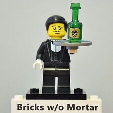New Genuine LEGO Waiter Minifig with Wine Bottle Series 9 71000