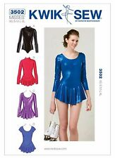 K3502 KWIK SEW Sewing Pattern Misses' Ice Skating Leotards Dance Costume XS-XLG