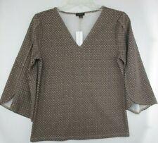 NWT Ann Taylor Factory Womens XS Brown Geo Print Petal Sleeve Top $54.99