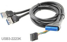 """24"""" 20-Pin Motherboard Header Female to 2x USB 3.0 Female Extension w/DIP Cable"""