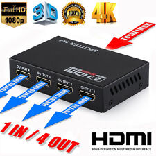 Ultra HD 4K HDMI Splitter 1X4 Amplifier Repeater 3D 1080p v1.4 1 in 4 out Hub