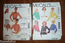 VINTAGE McCALL'S BLOUSE PATTERNS #6865 & 7258 - MISSES SIZES 14/16 - BOTH UNCUT