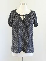 Joie Gray Black Medallion Print Short Sleeve Smocked Silk Blouse Top Size S Tie