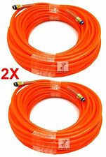 "(2) 100ft x 1/4"" NPT Orange Air Compressor PU Hose Roofing Framing carpentry"