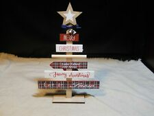 """New listing New ~ Décor Wooden Tabletop Christmas Tree Sign w/ Star ~ """"Merry Christmas…�~ #2"""