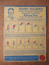 1937 Huskies Cereal Panel Harry Hillman Dartmouth University Track Coach RARE**