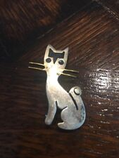 Vintage 30's Mexico Jewelry Designer JOSE ANTON Sterling silver CAT PIN