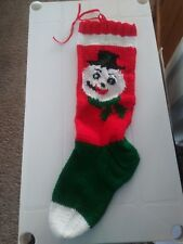 Hand Knit  Christmas Stocking from Vintage Pattern Frosty the Snowman