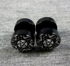 10mm Pentagram Stainless Steel Fake Plug Stud Earrings Screw Back