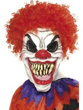 Scary Evil Killer Circus Clown Mask Halloween Costume With Red Fiery Wig Hair