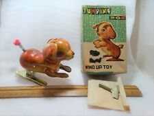 New ListingVintage Metal jumping Dog Wind Up Toy in original Box with key Japan