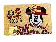 "Disney Mickey Mouse Scarecrow Harvest Welcome Outdoor Mat Coir Fiber 18x28"" NWT"