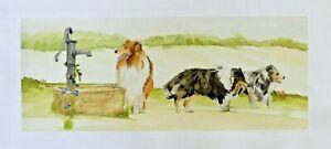 ROUGH COLLIE OFF TO THE DOG SHOW THEME DESIGN FABRIC PRINT ARTIST SANDRA COEN
