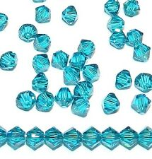 SCB323f Blue Zircon 4mm Xilion Faceted Bicone Swarovski Crystal Beads 48pc