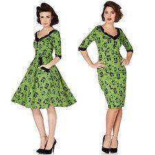 Voodoo Vixen Cat Green Katnis Dress 50's Pin Up Vintage Retro Flare Wiggle Party