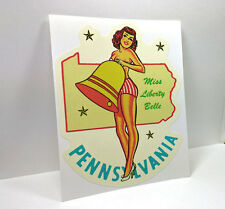 Pennsylvana State Pinup Vintage Style Travel Decal, Vinyl Sticker, Luggage Label