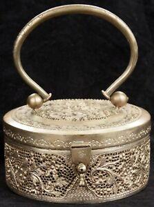 Antique Vintage Paktong Silver Peranakan Straits Chinese Womans Purse Box Nonya