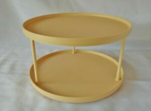 """Rubbermaid 10.5"""" Harvest Yellow 2 Tier Turntable Lazy Susan spice storage rack"""