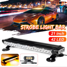 21'' 42 LED Emergency Warning Strobe Light Bar Traffic Advisor Flash Lamp Amber