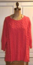 Talbots~NWT~CORAL cabled linen/cotton CABLED SWEATER~3X~Retail $90