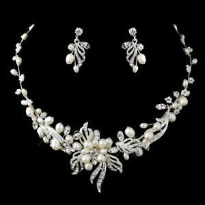 Silver Freshwater Pearl and Rhinestone Wedding Jewelry Set