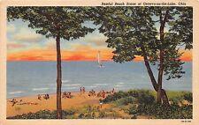GENEVA ON THE LAKE OHIO LOT OF 2 POSTCARDS 1941 RESTFUL BEACH + BEACH & SHORE
