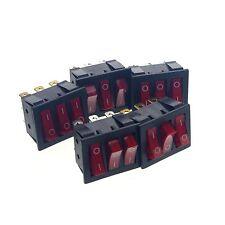 5 x DPDT Red Light Illuminated Round Rocker press Switch 3 Position 9 Terminals