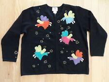 Quacker Factory Ugly Christmas Black Cardigan Sweater 1X 100% Wool Angels Stars